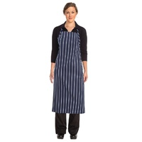 Navy Chalkstripe Adjustable Chefs Apron