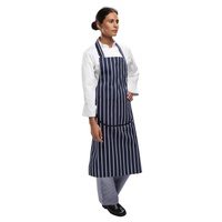 Whites Butchers Stripe Apron Navy with Pocket