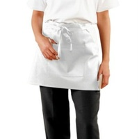White Poly/Cotton Short (1/4) Apron With Pocket