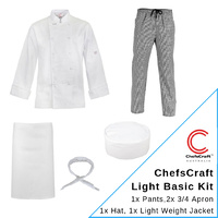 Chef Uniform Kit with Lightweight Jacket & 2 3/4 Aprons