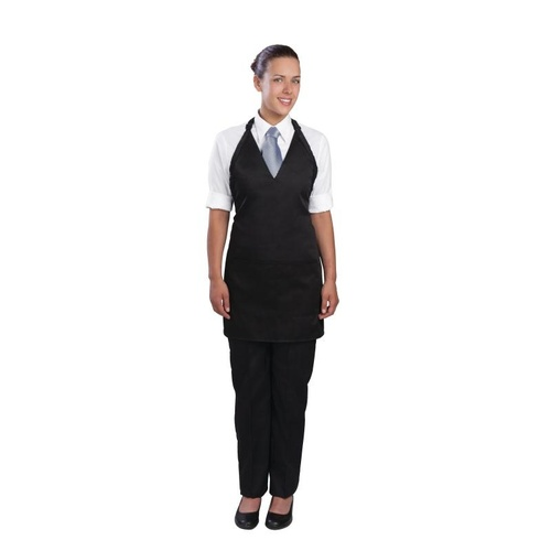 V Neck Service Apron Black