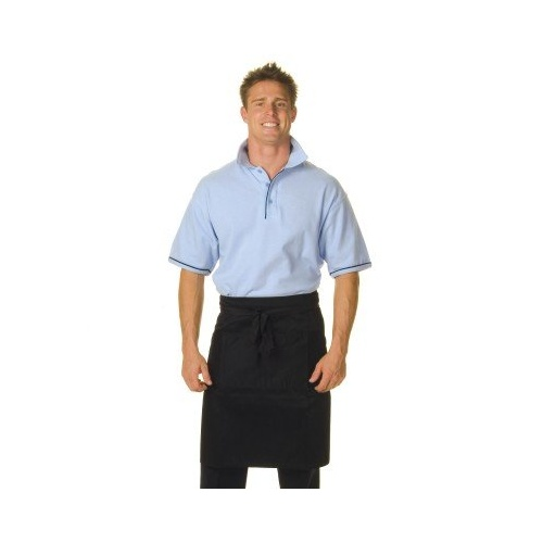 Black Poly/Cotton Half (1/2) Apron With Pocket
