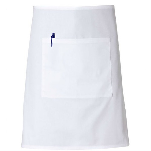 White Poly/Cotton Three Quarter (3/4) Apron With Pocket