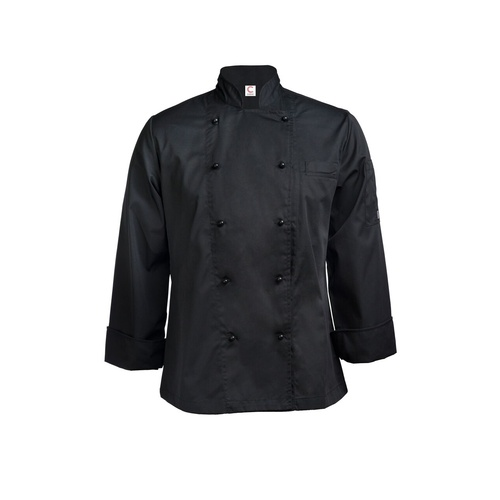 CHEF CRAFT - Ladies Executive Lightweight Chef Jacket - Long Sleeve Black [Ladies Size: 12]