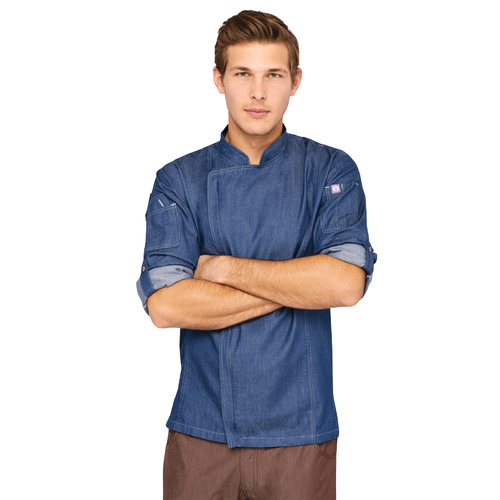 GRAMERCY MENS DENIM ZIPPER CHEF JACKET