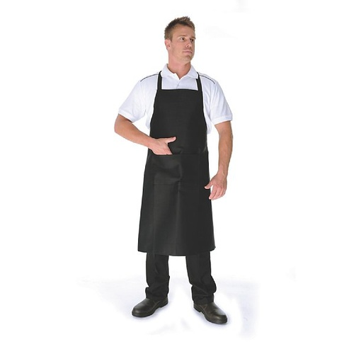 BLACK FULL BIB APRON - POLYESTER/ COTTON WITH POCKET
