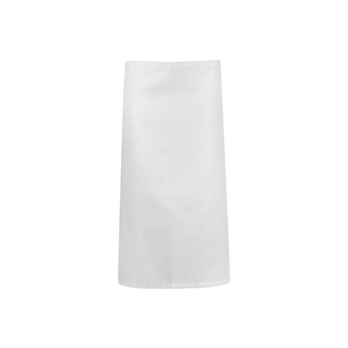 White Poly/Cotton Three Quarter (3/4) Apron No Pocket