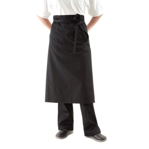 Black Poly/Cotton Three Quarter (3/4) Apron No Pocket