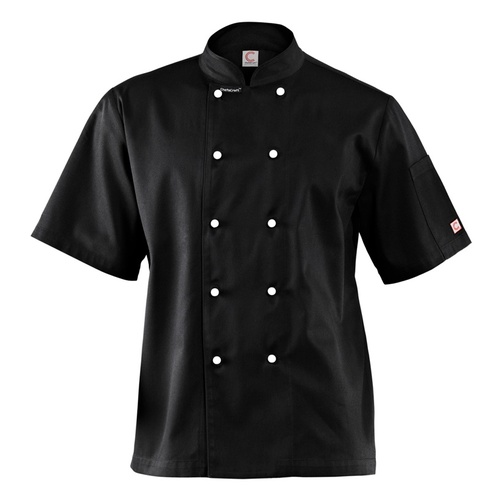CHEF CRAFT - EXECUTIVE  LIGHTWEIGHT CHEF JACKET - SHORT SLEEVE BLACK